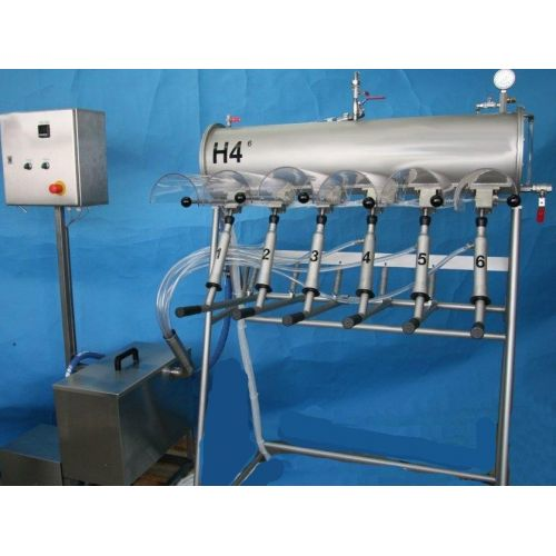 manual bottle filler for 0,33 – 1 or. 2 litre bottles 6 head filler H4