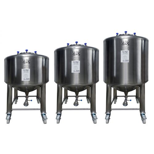 Beer tanks 1000 litres in AISI 304 on rolls